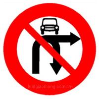 Biển báo Cấm ôtô rẽ phải và quay xe - Biển báo giao thông số hiệu 124f