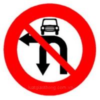 Biển báo Cấm ôtô rẽ trái và quay xe - Biển báo giao thông số hiệu 124e