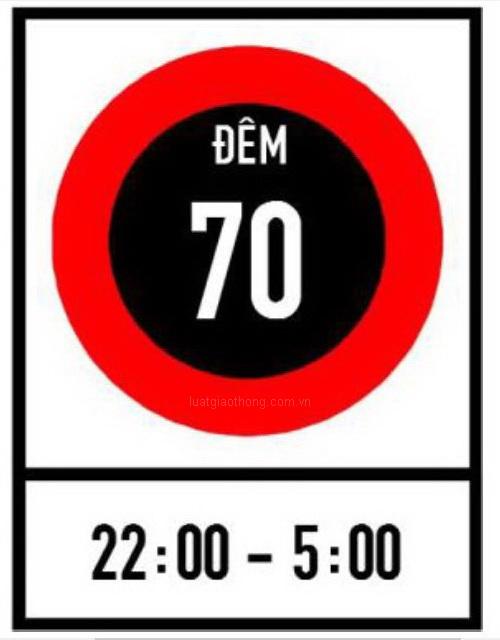 Biển báo tốc độ tối đa cho phép về ban đêm - Biển báo giao thông số hiệu 127a
